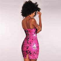 Black Pink Iridescent Reversible Sequins Spaghetti Straps Mini Dress