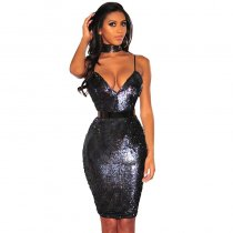 Black Reversible Sequins Spaghetti Straps Mini Dress