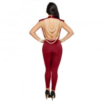 Seldana Wine Red Pearl Chain Open Back Jumpsuit