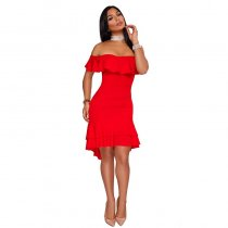 Chandra Red Ruffle Dress