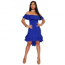 Chandra Cobalt Blue Ruffle Dress