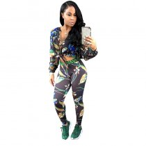 Mary J Multi Colored  Pants Print Button Up Sexy Two Pieces