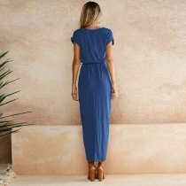 Belted Surplice Long Dress