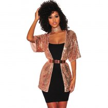 Gold Sequined Bling Bling Party Coat Top