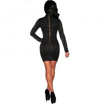Crystal High Neck Long Sleeve Short Bodycon Dress