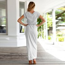 Belted Surplice Maxi Dress