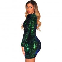 Green Sequins Long Sleeves Dress