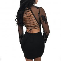 Stephanie Lace Up Lace Cross Strap Mini Dress