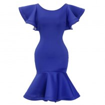 Blue Mermaid Party Dress with Ruffle Sleeves