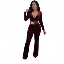 V Neck Lady Jumpsuit Without Belt