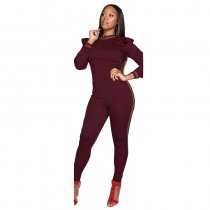 Women Long Sleeves Bodycon Ruffle Jumpsuits