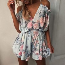 Women's Sexy Flower Printed Short Romper