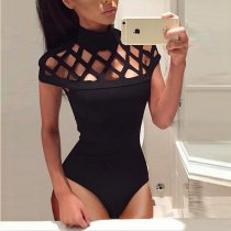 Black Caged High Neck Body Suit