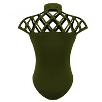 Womens Caged Neck Bodysuit Leotard Bandage Jumpsuit