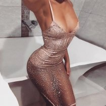 Sequins Sheer Sparkle Bodysuit Mesh Dress