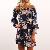 Off Shoulder Women Summer Beach Floral Dress