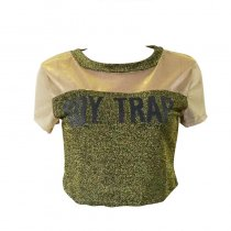BOY TRAP  Personality Back Hollow Out Letter T Shirt