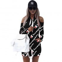 Women's Print Cold Shoulder Long Hoodies Club Dress