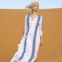 Tunics Cover Ups Drawstring Beach Maxi Dress