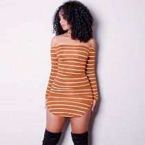 4 Colors Slim Striped Strapless Dress