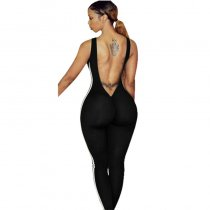 Black Sleeveless Two-Line Detail Bodycon Jumpsuit