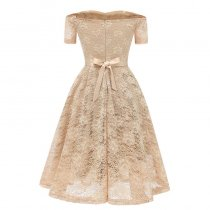 Lace Slash Neck A-line Cocktail Dress With Bow