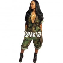 American Flag Sexy Patchwork Camo Jumpsuit