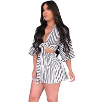 Bandages Striped Shorts Swimwear Two Pieces Set