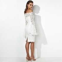 Occassional Off Shoulder Lace Dress With Wide Cuffs