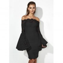 Occasional Off Shoulder Lace Dress with Wide Cuffs