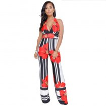 Stripe Print Flowers Halter Jumpsuit With Wide Leg