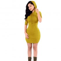 Pure Color Hooded Dress