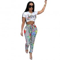 Euramerican Round Neck Striped Floral Printed Two-Piece Pants Set