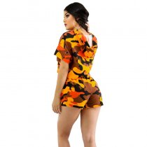 Print Camouflage Casual Two Pieces Set