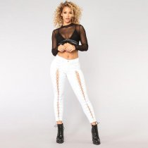 Middle Waist Long Bandage Jeans