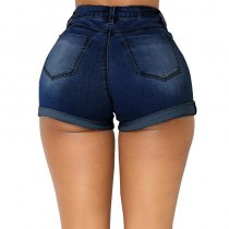 Rolled High Waist Denim Shorts