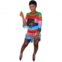 Colorful Stripped Sequins Fringe Tiger Shirt Dress