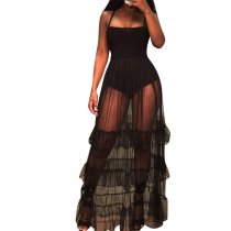 Black Mesh Long Halter Dress With Ruffled Hem