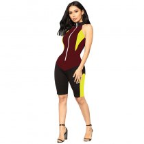On The Throttle Colorblock Romper - Black/Wine Red
