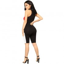 On The Throttle Colorblock Romper - Black/Red