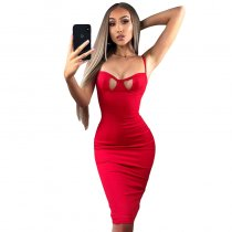 Valentine's Day Split Sexy Dress With Adjustable Straps