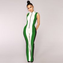 Push To Start Colorblock Jumpsuit - Black/Green