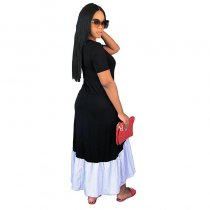 Short Sleeve Maxi Dress With Contrast Hem
