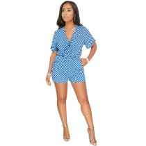 Bandages Polka Dot Short Jumpsuits