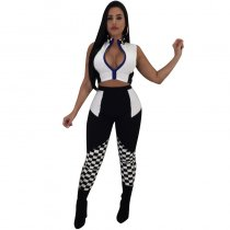 Racing Splice Hailee Checkered Zipper Legging Two Piece Sets