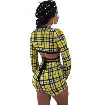 Cher Print Plaid Short Set