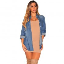 Mid-length Denim Jacket T Shirt