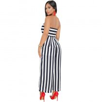 Mabel Navy Striped Strapless Jumpsuit