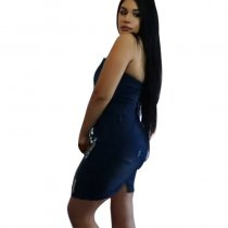 Denim Slim Halter Dress