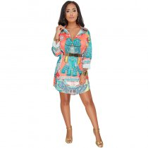 Gennadi Orange Printed Shirt Dress
